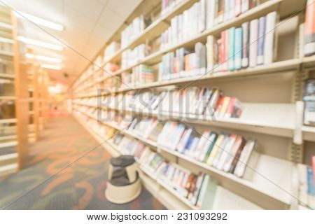 Wide View Library Bookshelf With Step Stool In American Public Library
