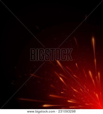 Vector Illustration Of Red Color Fire Flying Sparks On Black Background