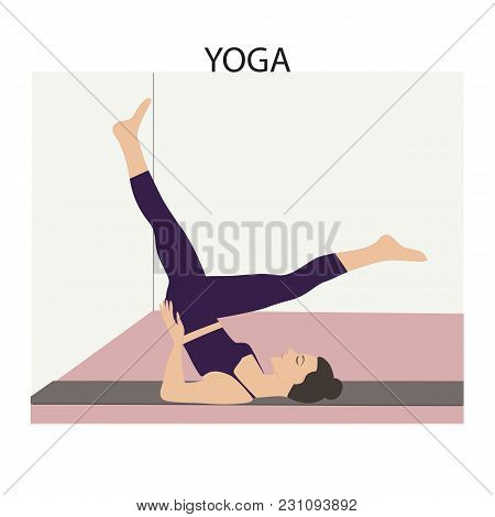Yoga Woman Doing Stretching Exercises On At The Wall The Position Number 2 Light Vector Background