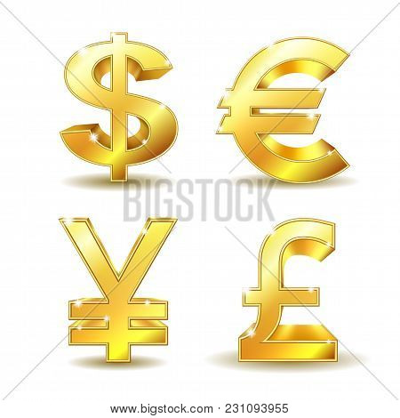 Set Of Golden Currency Sign - Dollar, Euro, Pound And Yen. Vector Illustration Isolated On White Bac