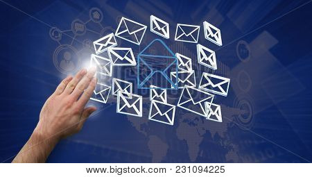 Digital composite of Hand open with 3D email message icons
