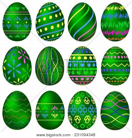 A Set Of Green Easter Eggs With Colorful Patterns. Vector Illustration