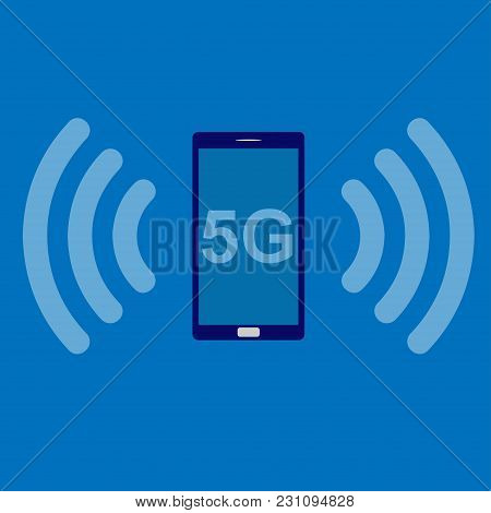 5 G Icon Of A Smartphone And Wi-fi On Blue Background