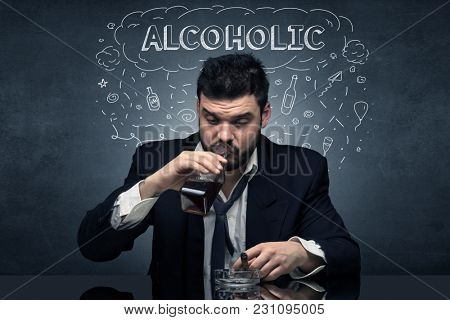 Loser drunk man with drinking, drug, hangover, alcoholic, drugs concept
