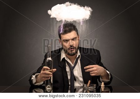Young drunk disappointed man with hard time overcast concept