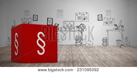 Vector icon of section symbol against doodle office in room