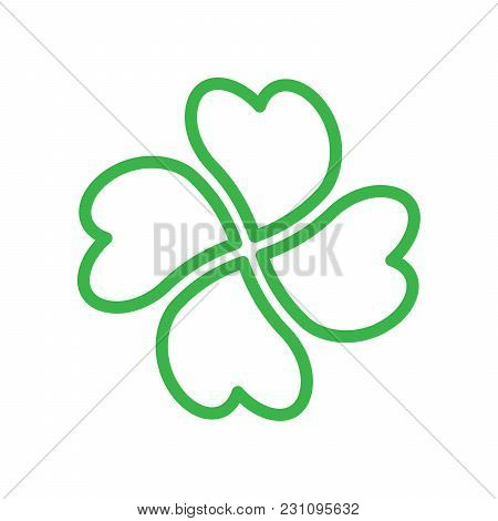 Shamrock - Green Four Leaf Clover Icon. Good Luck Theme Design Element. Simple Twisted Green Outline