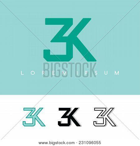 3k Overlaping Sign Logo Logotype Vector Art Illustration