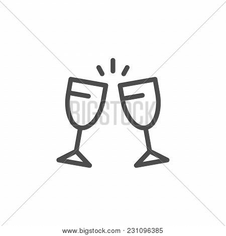 Cheers Line Icon Isolated On White. Vector Illustration