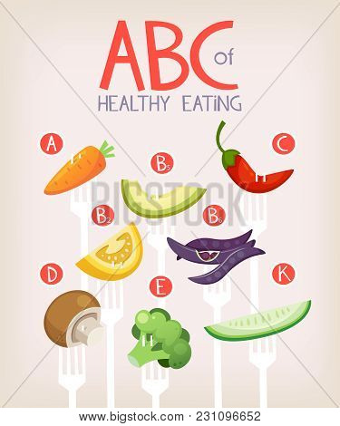Poster With Vegetables On Forks And Vitamins They Contain. Healthy Eating Vector Illustrartion