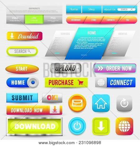 Collection Of Web Buttons, Elements Set. Vector Templates, Banners And Labels, Media, Ribbons Icons