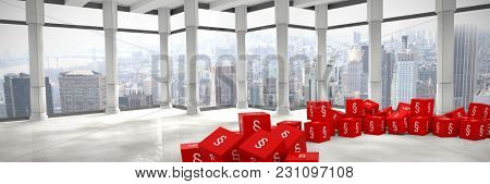 Vector icon of section symbol against modern room overlooking city