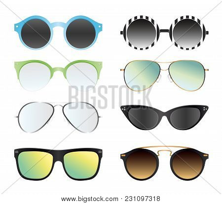 Vector Illustration Set Of Sunglasses Isolated On White Color Background. Different Summer Sunglasse