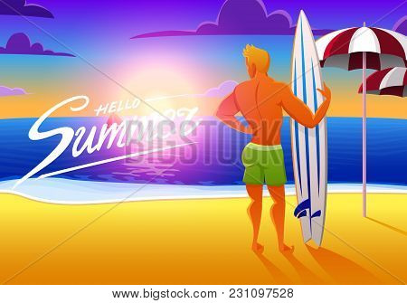 Surfer On The Ocean Beach At Sunset With Surfboard. Vector Illustration, Vintage Effect. Sports Man