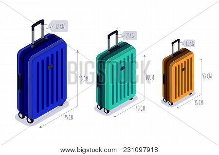 Baggage Allowance Isolated Vector Isometric Icons. Checked Baggage, Carry-on And Hand Luggage For Tr