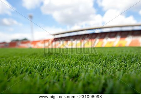 Soccer Field,football Field , Green Grass Background Texture On The Athletic Stadium