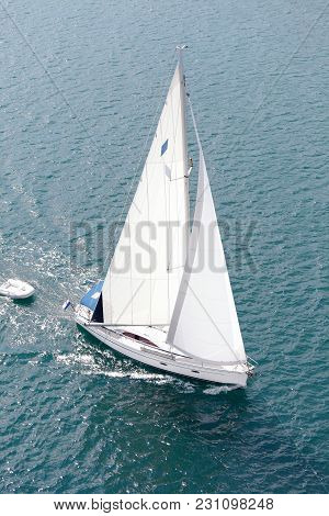 Sailing Boat In Mediterranean Sea, High Angle View