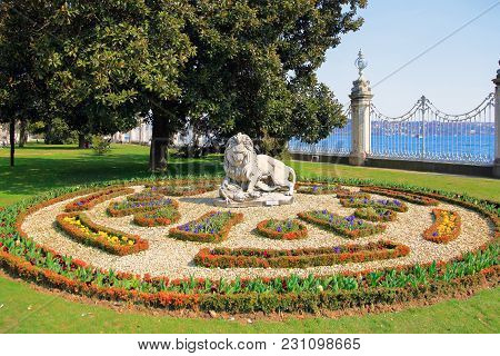 Istanbul, Turkey - March 25, 2012: Sculpture Of The Lion In The Dolmabahce Palace.