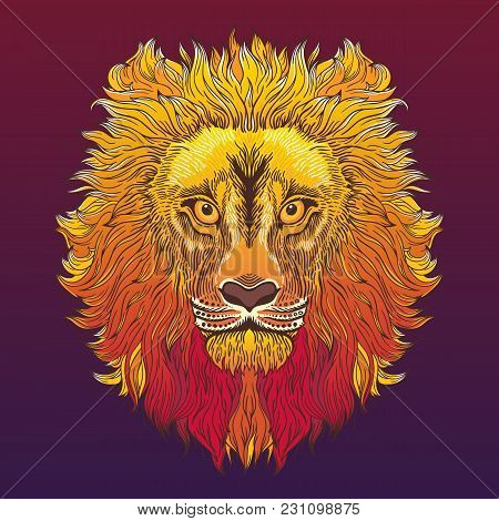 Lion Head. Vector Illustration In Ethnic, Tribal Style.