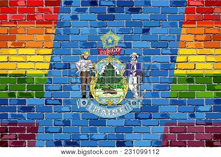 Brick Wall Maine And Gay Flags - Illustration, Rainbow Flag On Brick Textured Background,  Abstract