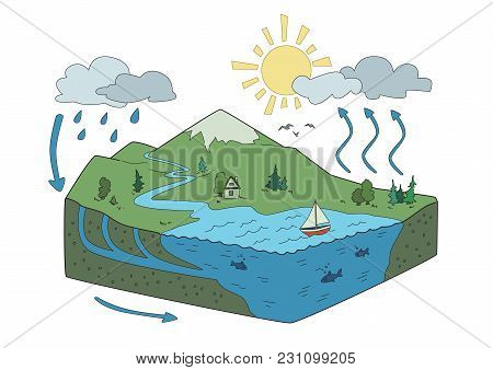 Vector Schematic Representation Of The Water Cycle In Nature, Hydrological Cycle. Isometric Infograp