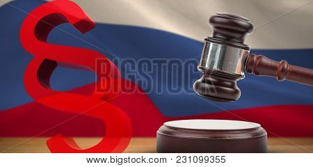 Vector icon of section symbol against digitally generated russian national flag