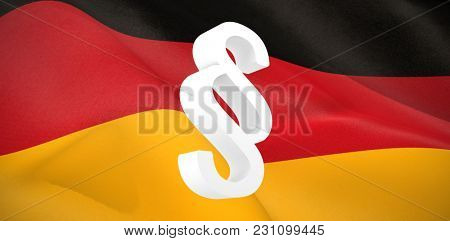 Vector icon of section symbol against digitally generated German national flag