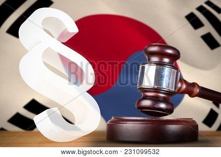 Vector icon of section symbol against korea republic flag waving