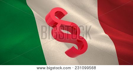 Vector icon of section symbol against digitally generated Italian national flag