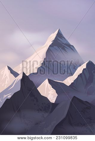 Spectacular Landscape With Mountain Crests Or Picks Covered With Snow And Shrouded In Mist. Beautifu