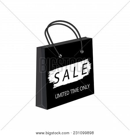 Sale Paper Bag Watercolor Brush Stroke Isolated White Background Vector