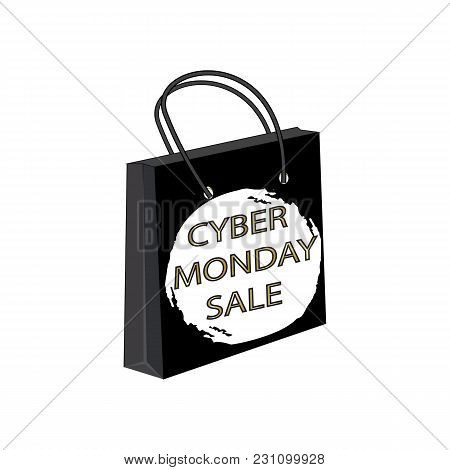 Cyber Monday Sale Paper Bag Round Watercolor Brush Stroke Isolated On White Background Vector