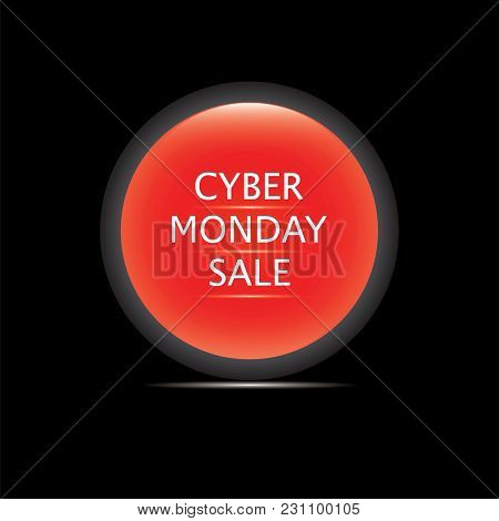 Cyber Monday Sale Icon Glass Red Round Isolated On A Black Background Vector