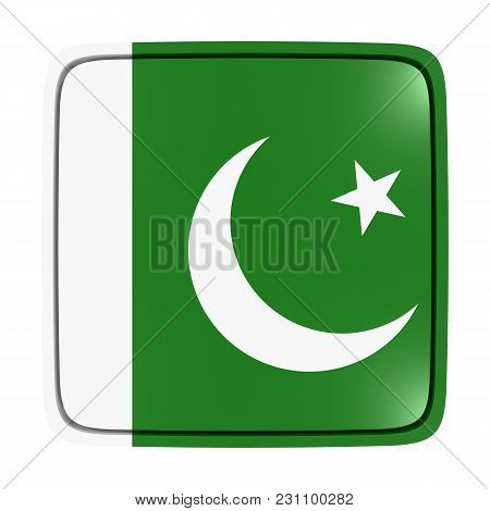 3d Rendering Of A Pakistan Flag Icon. Isolated On White Background.