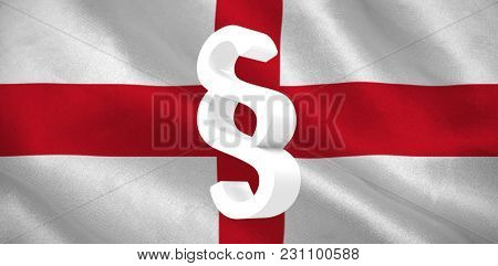 Vector icon of section symbol against digitally generated English national flag
