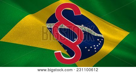 Vector icon of section symbol against digitally generated brazil national flag