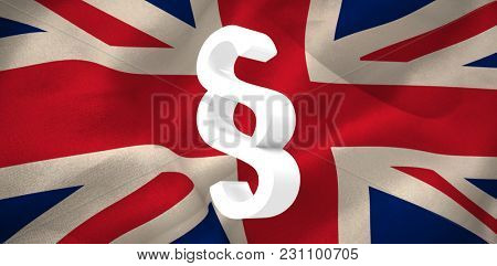 Vector icon of section symbol against digitally generated great Britain national flag