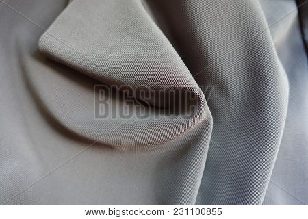 Draped Dark Grey Viscose, Cotton And Polyester Fabric