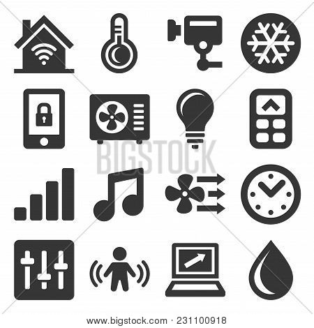 Smart Home Icons Set On White Background