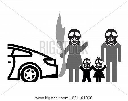 Gas Masks Against Air Pollution. Family Wearing Facemasks Against Harmful Traffic Fumes