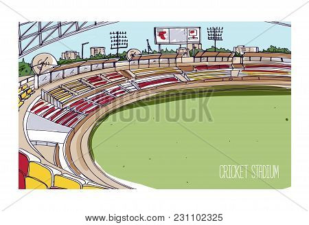 Colorful Drawing Of Cricket Stadium With Rows Of Seats, Electronic Scoreboard And Green Grassy Field