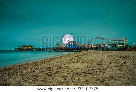 Santa Monica Pier At Night,  Los Angeles, California. Long Exposure.