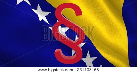 Vector icon of section symbol against Bosnia herzegovina national flag