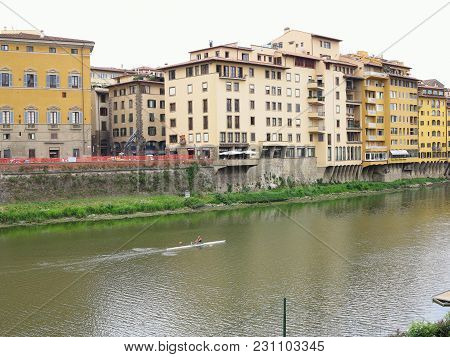 14.06.2017 Florence. Italy:  Beautiful Panoramic View Of The Arno River And The Town Of Renaissance