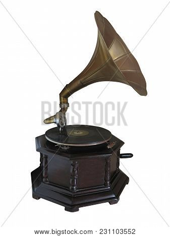 Vintage Old Gramophone Record Player Isolated Over White Background