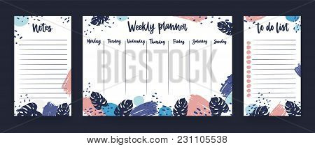 Personal Weekly Planner With Week Days, Sheet For Notes And To Do List Templates Decorated With Colo