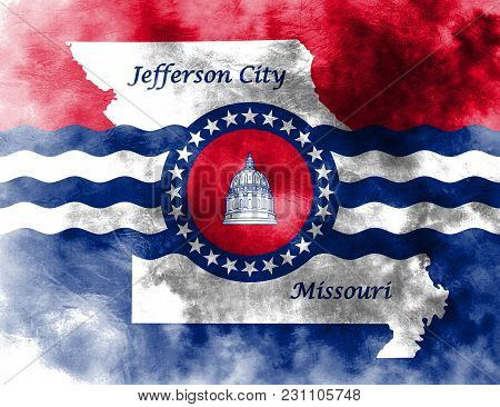 Jefferson City City Smoke Flag, Missouri State, United States Of America
