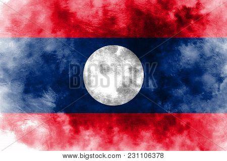 Old Laos Grunge Background Flag, Laos Flag