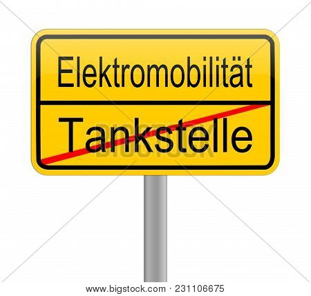 Yellow E-mobility Street Sign - In German - Illustration
