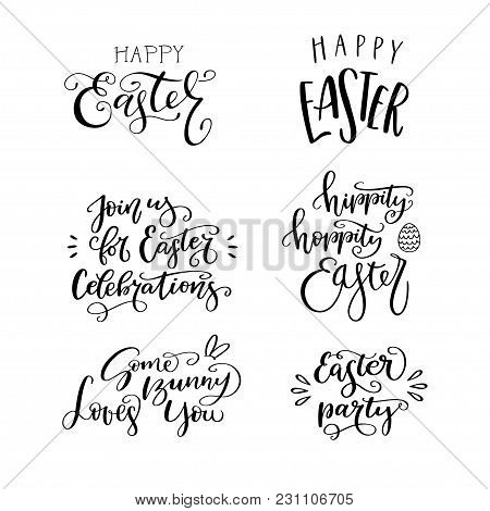 Set Of Hand Drawn Lettering Phrase Happy Easter, Hippity, Hoppity Easter, Easter Party, Some Bunny L